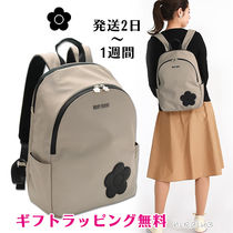 MARY QUANT Flower Patterns Casual Style Faux Fur Plain Logo Backpacks