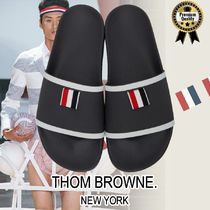 THOM BROWNE Street Style Bi-color Plain Leather Shower Shoes Flipflop