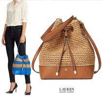 Ralph Lauren 2WAY Plain Crossbody Straw Bags