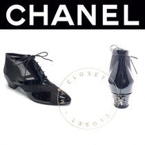 CHANEL ICON Lace-up Casual Style Blended Fabrics Street Style Plain