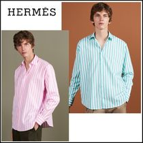 HERMES Stripes Long Sleeves Cotton Oversized Shirts