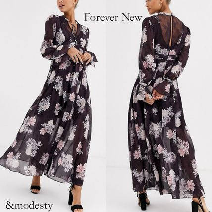 Flower Patterns Casual Style Maxi Chiffon Flared V-Neck