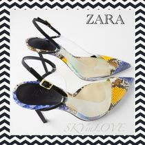 ZARA Casual Style Other Animal Patterns Pin Heels Python
