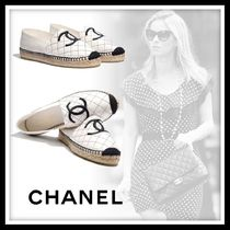 CHANEL Platform Round Toe Casual Style Blended Fabrics Leather