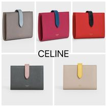 CELINE Strap Calfskin Bi-color Plain Leather Folding Wallet Logo