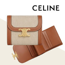 CELINE Calfskin Plain Folding Wallet Small Wallet Logo