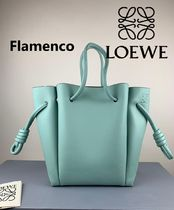 LOEWE FLAMENCO Casual Style Calfskin Plain Leather Party Style Purses
