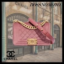 CHANEL BOY CHANEL Casual Style Chain Plain Leather Elegant Style Crossbody