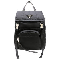 PRADA Nylon A4 Plain Office Style Backpacks