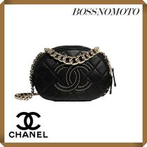 CHANEL Casual Style Studded Chain Plain Leather Elegant Style