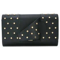 PERRIN Paris Casual Style Studded Plain Leather Party Style Office Style