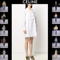 CELINE Short Casual Style A-line Long Sleeves Cotton Oversized