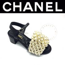 CHANEL ICON Open Toe Casual Style Blended Fabrics Street Style Plain