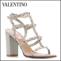 VALENTINO Open Toe Studded Leather Block Heels Party Style