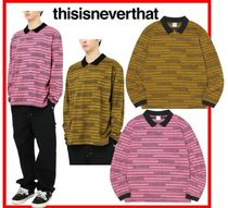 thisisneverthat Casual Style Unisex Street Style Long Sleeves Cotton Polos