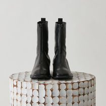 Square Toe Leather Wedge Boots