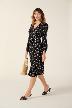 Wrap Dresses Flower Patterns V-Neck Bi-color Long Sleeves