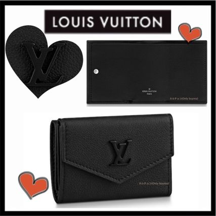 Louis Vuitton LOCKME Unisex Calfskin Plain Folding Wallet Folding Wallets