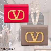 VALENTINO Leather Folding Wallet Small Wallet Logo Folding Wallets