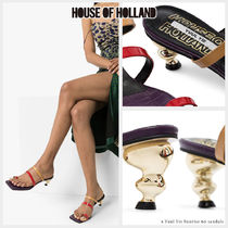 House of Holland Open Toe Square Toe Casual Style Blended Fabrics