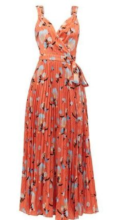 Wrap Dresses Flower Patterns Sleeveless V-Neck Medium