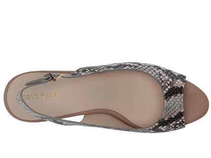 Cole Haan Open Toe Leather Office Style Python Peep Toe Pumps & Mules