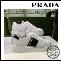 PRADA Platform Plain Toe Lace-up Street Style Plain Leather Logo