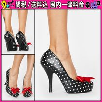 DOLLS KILL Dots Round Toe Casual Style Faux Fur Pin Heels