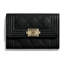 CHANEL Lambskin Chain Plain Leather Logo Card Holders
