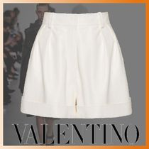 VALENTINO Short Casual Style Plain Leather