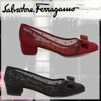 Salvatore Ferragamo Dots Casual Style Block Heels Party Style Office Style