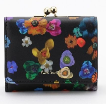 Paul Smith Flower Patterns Leather Folding Wallet Small Wallet Logo