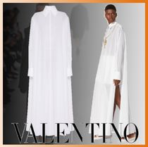 VALENTINO Casual Style Long Sleeves Plain Cotton Long Oversized