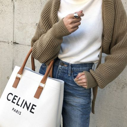 CELINE Canvas A4 Plain Elegant Style Logo Handbags
