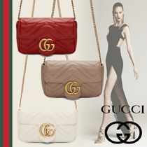 GUCCI GG Marmont Casual Style Suede Street Style 2WAY Chain Plain Leather