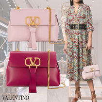 VALENTINO Casual Style Chain Plain Leather Party Style Elegant Style