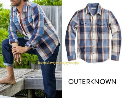 Other Plaid Patterns Street Style Long Sleeves Plain Cotton