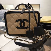 CHANEL Casual Style Calfskin Vanity Bags 2WAY 3WAY Plain Leather