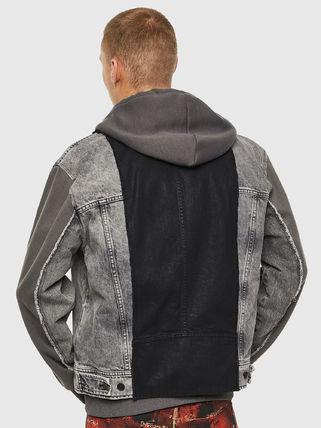 DIESEL Short Denim Street Style Bi-color Denim Jackets Jackets