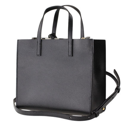 2WAY Plain Leather Crossbody Logo Totes