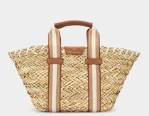 Anya Hindmarch Stripes Canvas Blended Fabrics Plain Leather Logo Straw Bags