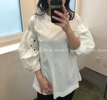 MONCLER Crew Neck Short Plain Short Sleeves With Jewels Puff Sleeves
