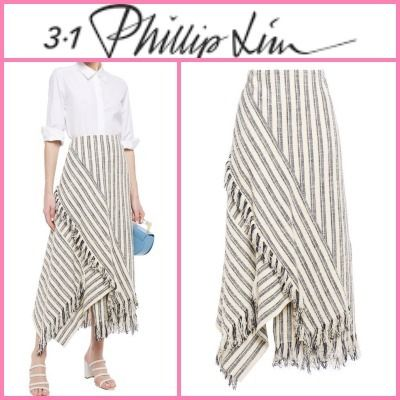 Flared Skirts Stripes Casual Style Nylon Street Style Cotton
