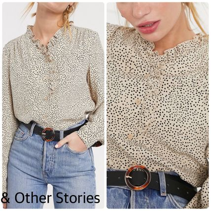 Dots Casual Style Chiffon Long Sleeves Office Style