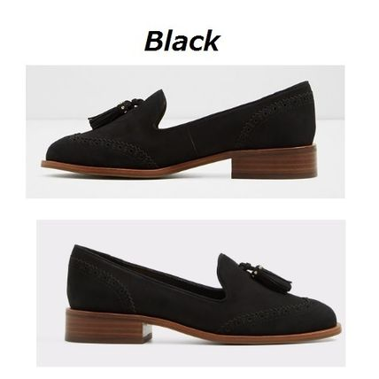 Round Toe Rubber Sole Casual Style Tassel Plain Leather