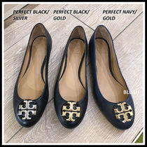 Tory Burch Round Toe Casual Style Plain Leather Office Style Logo Flats