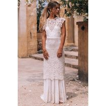 SPELL Crew Neck Maxi Long Short Sleeves Lace Bridal