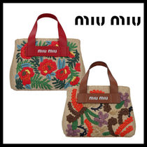MiuMiu Flower Patterns Calfskin 2WAY Crossbody Logo Straw Bags