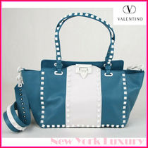 VALENTINO Casual Style Studded 2WAY Leather Office Style Elegant Style