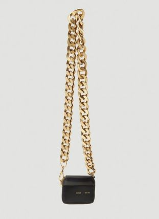 Chain Plain Leather Long Wallet  Small Wallet Chain Wallet